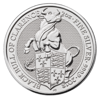 2 oz Queen's Beasts Black Bull Silver Coin (2018)(Front)