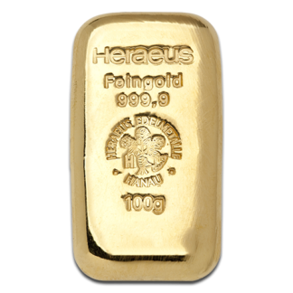 100g Gold Bullion | Heraeus Gold Bar | casted(Front)